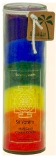 Image of Candle Chakra Jar Unscented Sri Yantra (Rainbow) Rainbow