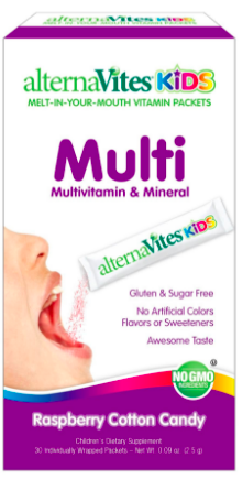 Image of AlternaVites KIDS Multivitamins & Mineral Packet Raspberry Cotton Candy