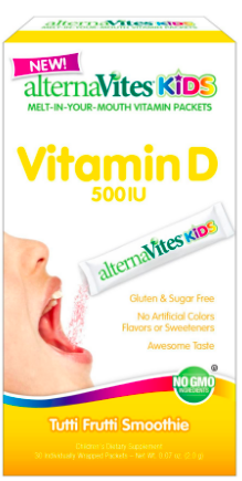 Image of AlternaVites KIDS Vitamin D 500 IU Packets Tutti Fruti Smoothie