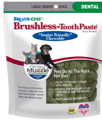 Image of Gray Muzzle BREATH-LESS Brush-Less Toothpaste Chewable for Senior Dogs Large