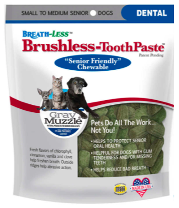 Image of Gray Muzzle BREATH-LESS Brush-Less Toothpaste Chewable for Senior Dogs Small/Med