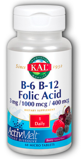 Image of B6 B12 Folic Acid 3 mg/1000 mcg/400 mcg ActivMelt Berry