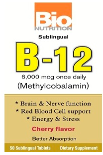 Image of B-12 6,000 mcg Sublingual Cherry