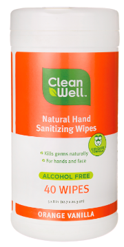 Image of Hand Sanitizing Wipes in Canister Orange Vanilla