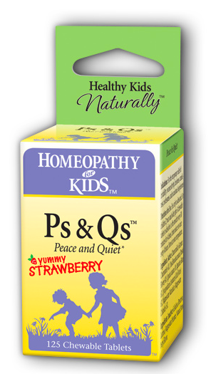 Image of Homeopathy for Kids Ps & Qs Peace & Quiet Chewable Strawberry