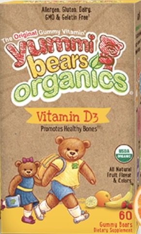 Image of Yummi Bears Organics Vegetarian Vitamin D3 300 IU Gummy