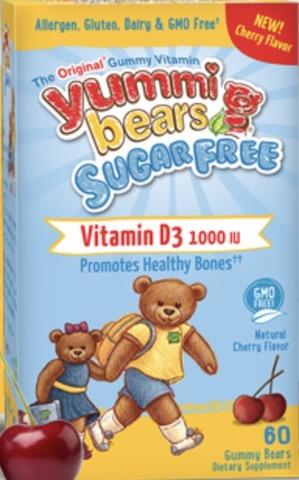 Image of Yummi Bears Sugar Free Vitamin D3 500 IU Gummy