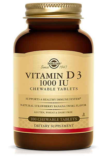 Image of Vitamin D3 1000 IU Chewable Strawberry Banana Swirl