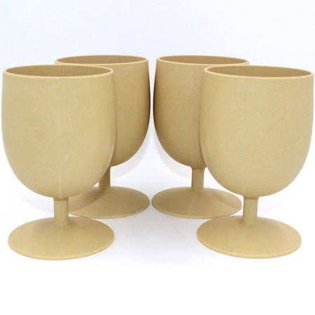 Image of Biodegradable Bamboo (4) 15 ounce Eco Goblets Almond
