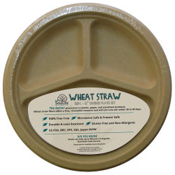 Image of Wheat Straw-Plate 10' Divided Unbleached Natural