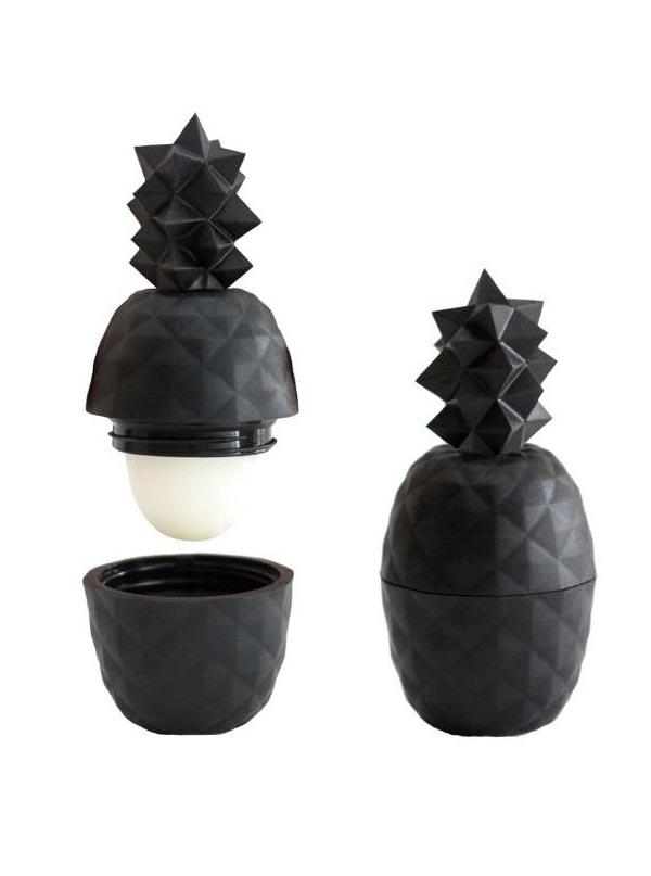 Image of Geometric Pineapple Lip Balm Black - Exotic Fruit Flavor