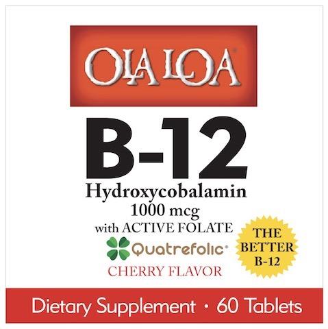 Image of Ola Loa B12 Hydroxycobalamin with Folate Sublingual Cherry