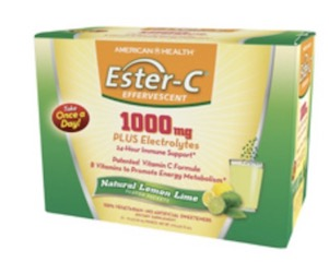 Image of Ester-C 1000 mg Plus Electrolytes Effervescent Powder Lemon Lime
