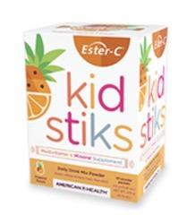Image of Ester-C Kidstiks Multivitamin & Mineral Powder Tropical Punch