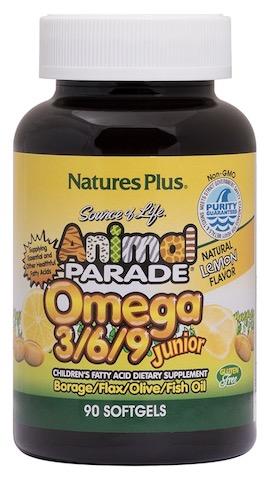 Image of Animal Parade Omega 3/6/9 Junior Softgel Lemon