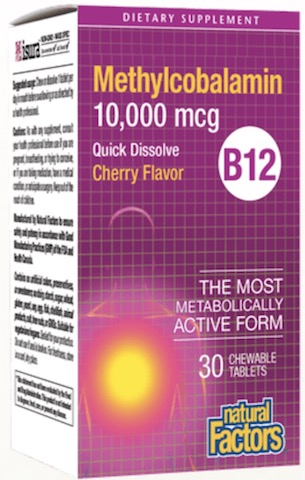Image of Vitamin B12 Methylcobalamin 10,000 mcg Chewable Cherry