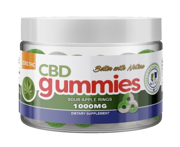 Image of CBD Gummies 1000 mg Sour Apple Rings