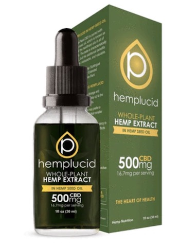 Image of Hemplucid Whole Plant CBD Oil in Hemp Seed Oil 500 mg (16.6 mg per serving)