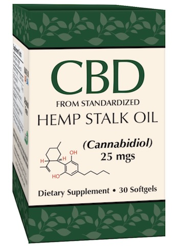 Image of CBD Oil (from Standardized Hemp Stalk Oil) 25 mgs Softgel