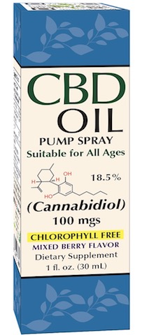 Image of CBD Oil Pump Spray 18.5% 100 mgs Liquid Mixed Berry