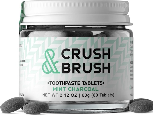 Image of Crush & Brush Toothpaste Tablet Jar Mint Charcoal