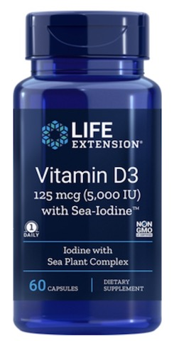 Image of Vitamin D3 125 mcg (5000 IU) with Sea-Iodine