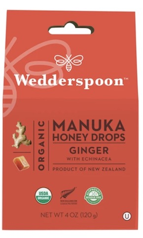 Image of Manuka Honey Drops Organic Ginger with Echinacea