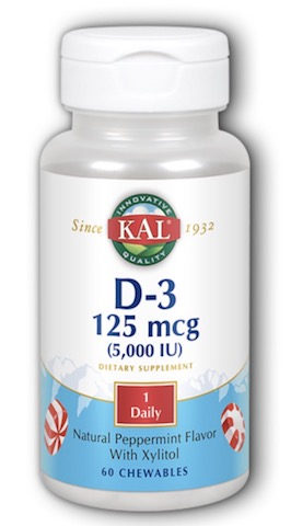 Image of D3 125 mcg (5000 IU) Chewable Peppermint with Xylitol