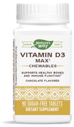 Image of Vitamin D3 Max 125 mcg (5000 IU) Chewable Chocolate