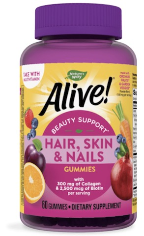 Image of Alive! Hair, Skin & Nails Gummies Premium (with Collagen) Strawberry