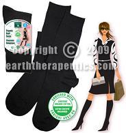Image of Organic Boot Socks for Women Black (Knee High)