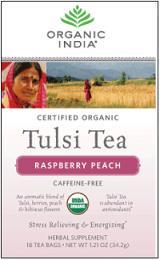 Image of Tulsi Tea Organic Caffeine-Free Raspberry Peach