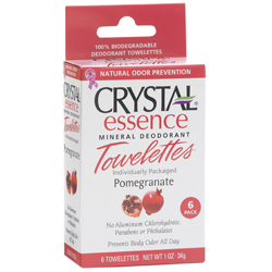 Image of Crystal Essence Mineral Deodorant Towelettes Pomegranate