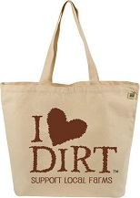 Image of Tote Bag Cotton Canvas I LOVE DIRT
