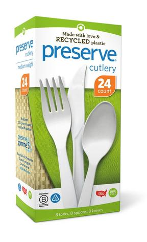 Image of Cutlery Medium Weight Mixed Pack Recycled Plastic White