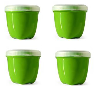 Image of Food Storage Container Round Mini 8 oz (4 count) Apple Green