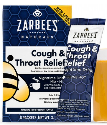 Image of Cough and Throat Relief Nighttime Drink Mix Honey Lemon