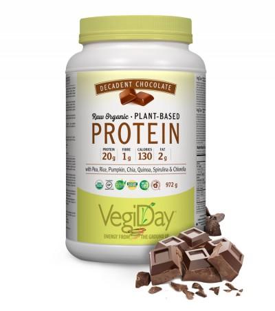 Image of VegiDay Raw Organic Plant Based Protein Powder Decadent Chocolate