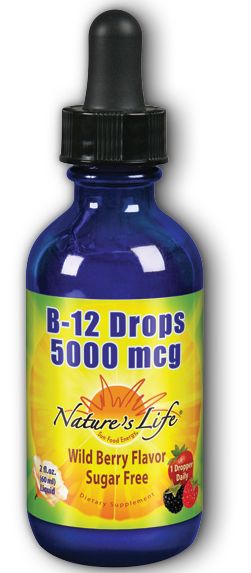 Image of B-12 Drops 5000 mcg Liquid Wildberry Sugar Free