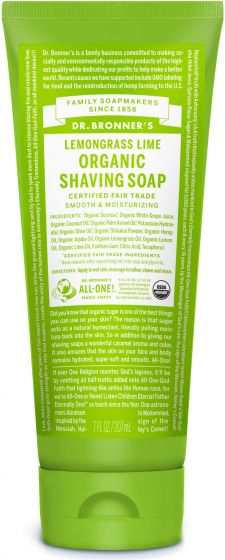 Image of Shaving Soap Organic Lemongrass Lime