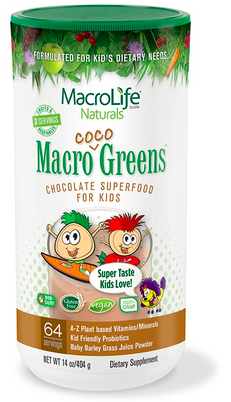 Image of Kids Macro Coco Greens Chocolate Superfood Powder 64 Servings