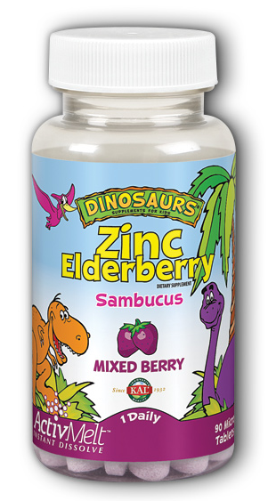 Image of Dinosaurs Zinc Elderberry Sambucus 5 mg ActivMelt Mixed Berry