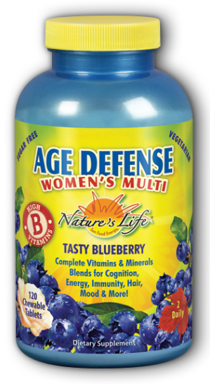Image of Age Defense Women's Multi Chewable Blueberry