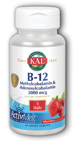 Image of B12 Methylcobalamin Adenosylcobalamin 2000 mcg ActivMelt Mixed Berry