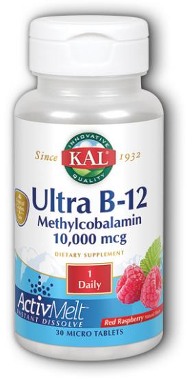 Image of Ultra B12 Methycobalamin 10,000 mcg ActivMelt Raspberry