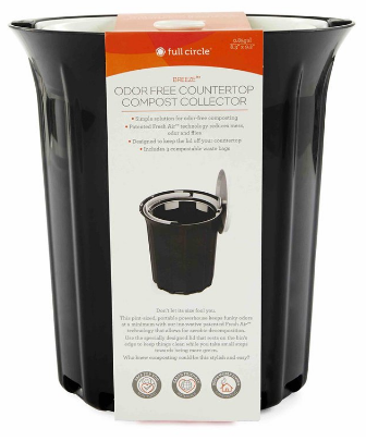Image of Breeze Odor-Free Countertop Compost Collector Black & White