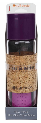 Image of Tea Time Glass Travel Bottle 19 oz Elderberry