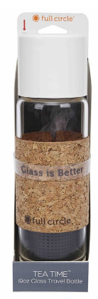 Image of Tea Time Glass Travel Bottle 19 oz Gray