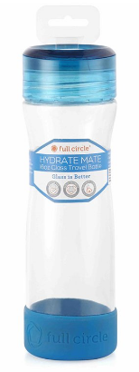 Image of Hydrate Mate Glass Travel Bottle 16 oz Blueberry
