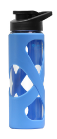 Image of Glass Water Bottle 17 oz Blue